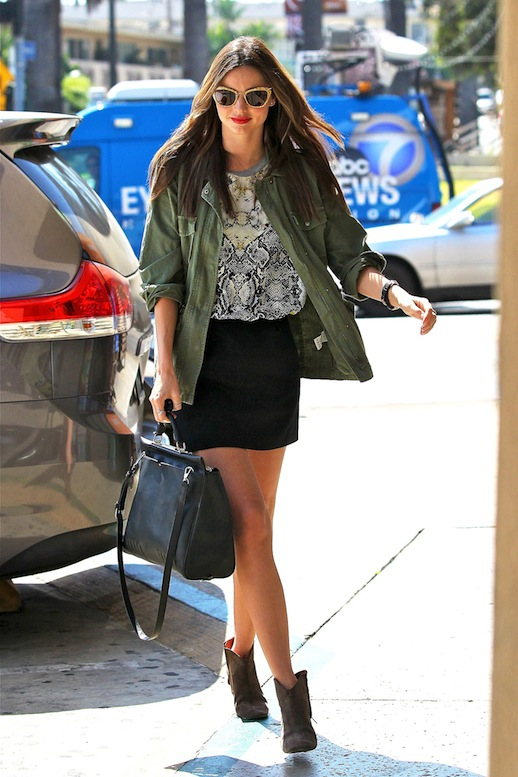 13-Le-Fashion-Blog-15-Ways-To-Wear-A-Green-Army-Jacket-Miranda-Kerr-Print-Top-Black-Skirt-Ankle-Boots-Via-Glamour