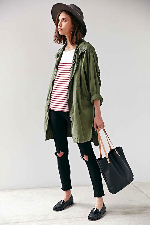 14-Le-Fashion-Blog-15-Ways-To-Wear-A-Green-Army-Jacket-Hat-Striped-Shirt-Ripped-Black-Jeans-Loafer-Via-Urban-Outfitters