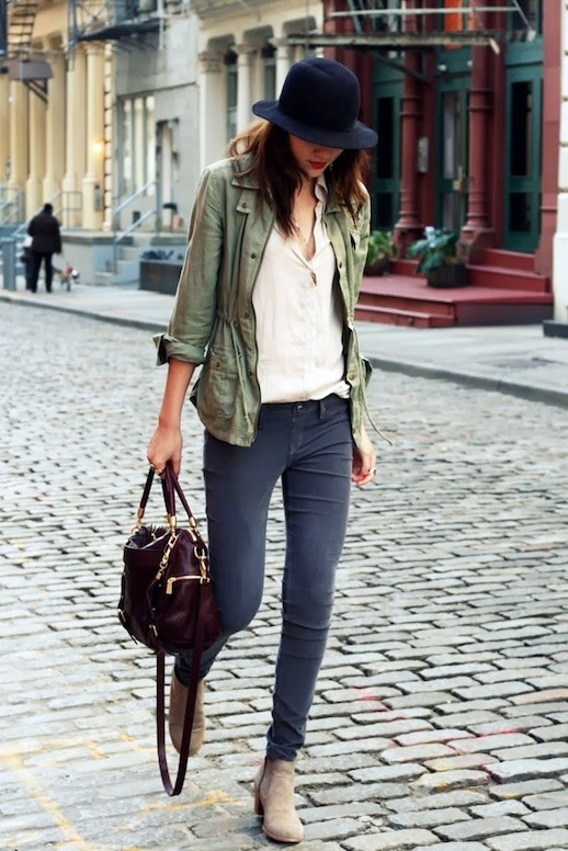 15-Le-Fashion-Blog-15-Ways-To-Wear-A-Green-Army-Jacket-Hat-Button-Down-Shirt-Skinny-Jeans-Boots-Via-Natalie-Off-Duty