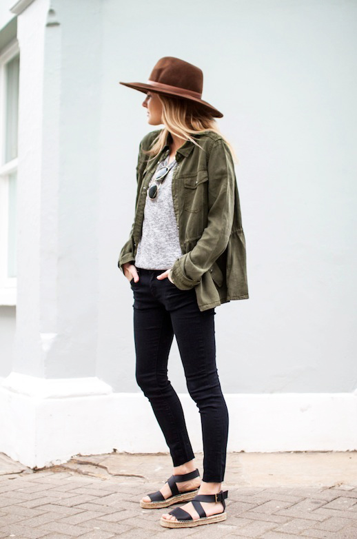 3-Le-Fashion-Blog-15-Ways-To-Wear-A-Green-Army-Jacket-Hat-Grey-Tee-Black-Jeans-Espadrilles-Via-Fashion-Me-Now