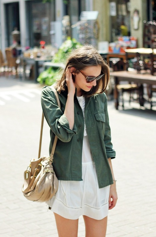 4-Le-Fashion-Blog-15-Ways-To-Wear-A-Green-Army-Jacket-White-Mini-Dress-Leather-Bag-Via-Blogger-Polienne