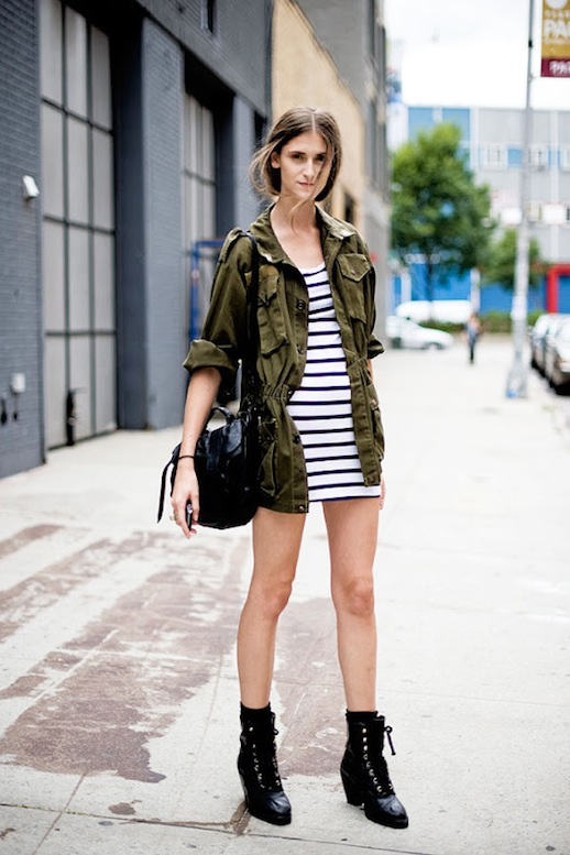 5-Le-Fashion-Blog-15-Ways-To-Wear-A-Green-Army-Jacket-Model-Style-Daiane-Conterato-Striped-Dress-Boots-Via-Vanessa-Jackman
